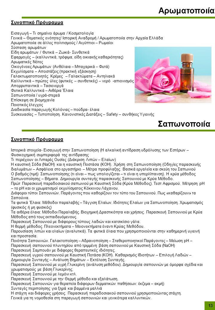 Αρωματοποιία Συνοπτικό Πρόγραμμα Εισαγωγή – Τι σημαίνει άρωμα / Κοσμετολογία Γενικά – Θεματικές ενότητες/ Ιστορική Αναδρομή / Αρωματοποιία στην Αρχαία Ελλάδα Αρωματοποιία σε άλλες πολιτισμούς / Αιγύπτιοι – Ρωμαίοι Σύσταση αρωμάτων Είδη αρωμάτων / Φυτικά – Ζωικά- Συνθετικά Εφαρμογές – (καλλυντικά, τρόφιμα, είδη οικιακής καθαριότητας) Αρωματικές Νότες Οικογένειες Αρωμάτων (Ανθέλαια – Μπαχαρικά – Φυτά) Εκχυλίσματα – Αποστάξεις (πρακτική εξάσκηση) Γαλακτωματοποιητές.