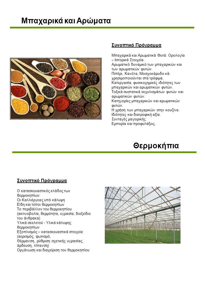 Θερμοκήπια Συνοπτικό Πρόγραμμα Ο κατασκευαστικός κλάδος των θερμοκηπίων Οι Καλλιέργειες υπό κάλυψη Είδη και τύποι θερμοκηπίων Το περιβάλλον του θερμοκηπίου (ακτινοβολία, θερμότητα, υγρασία, διοξείδιο του άνθρακα) Υλικά σκελετού - Υλικά κάλυψης θερμοκηπίων Εξοπλισμός – κατασκευαστικά στοιχεία (αερισμός, φωτισμό, Θέρμανση, ρύθμιση σχετικής υγρασίας, άρδευση, λίπανση) Οργάνωση και διαχείριση του θερμοκηπίου Μπαχαρικά και Αρώματα Συνοπτικό Πρόγραμμα Μπαχαρικά και Αρωματικά Φυτά: Ορολογία – Ιστορικά Στοιχεία.