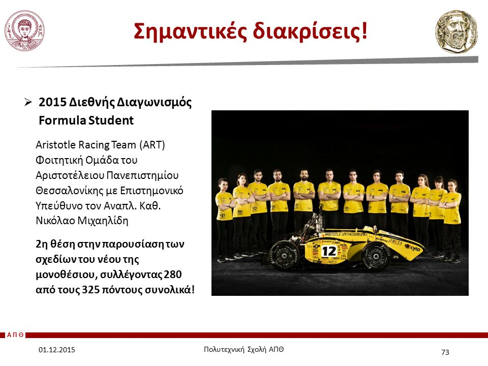 ΑΠΘ  2015 Διεθνής Διαγωνισμός Formula Student Aristotle Racing Team (ART) Φοιτητική Ομάδα του Αριστοτέλειου Πανεπιστημίου Θεσσαλονίκης με Επιστημονικ