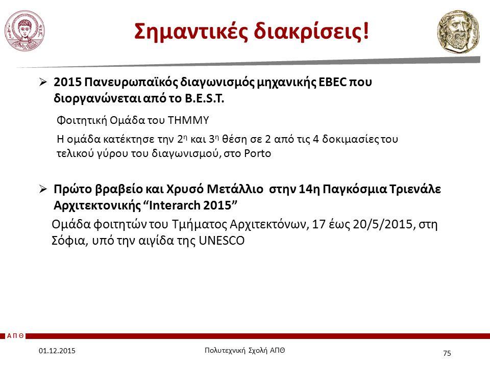 ΑΠΘ  2015 Πανευρωπαϊκός διαγωνισμός μηχανικής EBEC που διοργανώνεται από το B.E.S.T. Φοιτητική Ομάδα του ΤΗΜΜΥ Η ομάδα κατέκτησε την 2 η και 3 η θέση