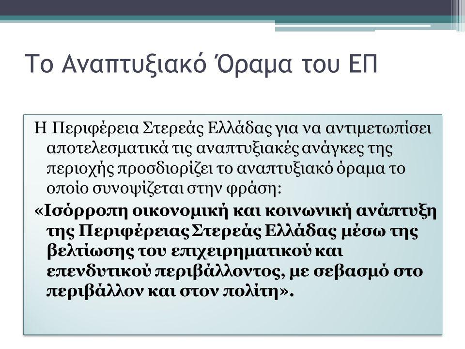 Το Αναπτυξιακό Όραμα του ΕΠ Η Περιφέρεια Στερεάς Ελλάδας για να αντιμετωπίσει αποτελεσματικά τις αναπτυξιακές ανάγκες της περιοχής προσδιορίζει το αναπτυξιακό όραμα το οποίο συνοψίζεται στην φράση: «Ισόρροπη οικονομική και κοινωνική ανάπτυξη της Περιφέρειας Στερεάς Ελλάδας μέσω της βελτίωσης του επιχειρηματικού και επενδυτικού περιβάλλοντος, με σεβασμό στο περιβάλλον και στον πολίτη».