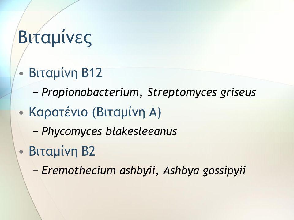 Βιταμίνες Βιταμίνη Β12 −Propionobacterium, Streptomyces griseus Καροτένιο (Βιταμίνη Α) −Phycomyces blakesleeanus Βιταμίνη Β2 −Eremothecium ashbyii, Ashbya gossipyii