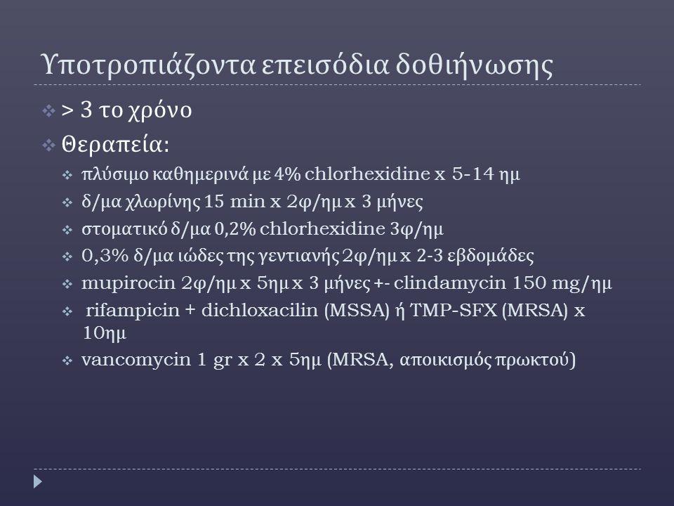 Υποτροπιάζοντα επεισόδια δοθιήνωσης  > 3 το χρόνο  Θεραπεία :  πλύσιμο καθημερινά με 4% chlorhexidine x 5-14 ημ  δ / μα χλωρίνης 15 min x 2 φ / ημ x 3 μήνες  στοματικό δ / μα 0,2% chlorhexidine 3 φ / ημ  0,3% δ / μα ιώδες της γεντιανής 2 φ / ημ x 2-3 εβδομάδες  mupirocin 2 φ / ημ x 5 ημ x 3 μήνες +- clindamycin 150 mg/ ημ  rifampicin + dichloxacilin (MSSA) ή TMP-SFX (MRSA) x 10 ημ  vancomycin 1 gr x 2 x 5 ημ (MRSA, αποικισμός πρωκτού )