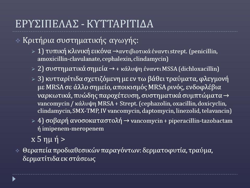 ΕΡΥΣΙΠΕΛΑΣ - ΚΥΤΤΑΡΙΤΙΔΑ  Κριτήρια συστηματικής αγωγής:  1) τυπική κλινική εικόνα → αντιβιοτικά έναντι strept.