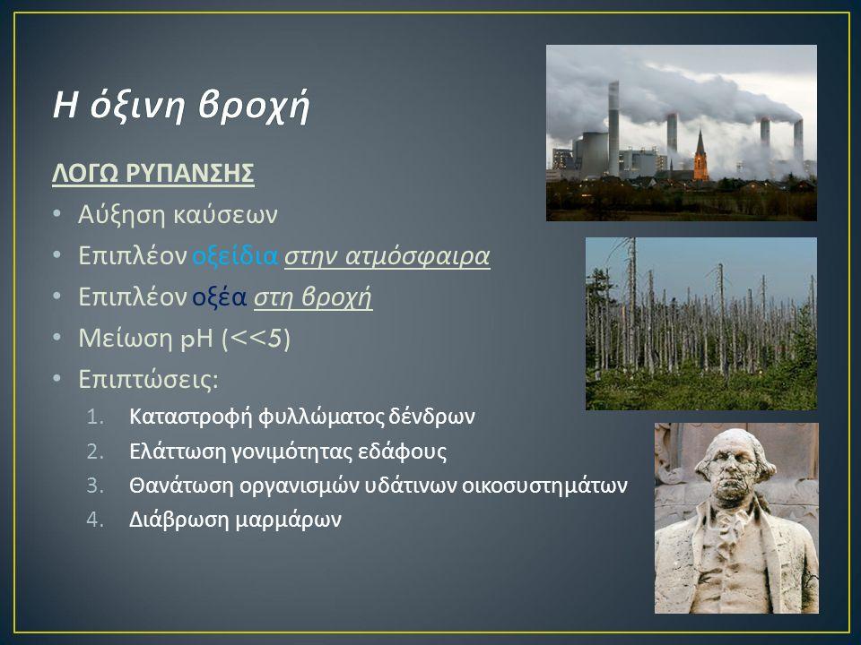 ΛΟΓΩ ΡΥΠΑΝΣΗΣ Αύξηση καύσεων Επιπλέον οξείδια στην ατμόσφαιρα Επιπλέον οξέα στη βροχή Μείωση pH (<<5) Επιπτώσεις : 1.Καταστροφή φυλλώματος δένδρων 2.Ελάττωση γονιμότητας εδάφους 3.Θανάτωση οργανισμών υδάτινων οικοσυστημάτων 4.Διάβρωση μαρμάρων