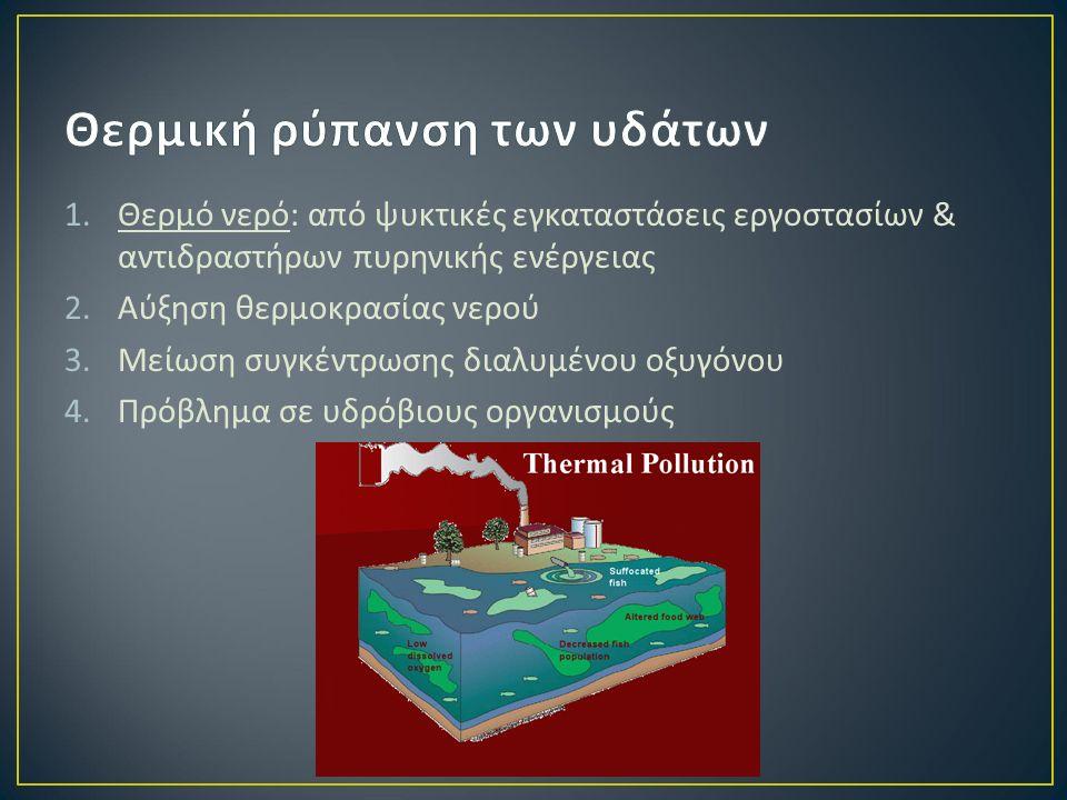 1.Θερμό νερό : από ψυκτικές εγκαταστάσεις εργοστασίων & αντιδραστήρων πυρηνικής ενέργειας 2.Αύξηση θερμοκρασίας νερού 3.Μείωση συγκέντρωσης διαλυμένου οξυγόνου 4.Πρόβλημα σε υδρόβιους οργανισμούς