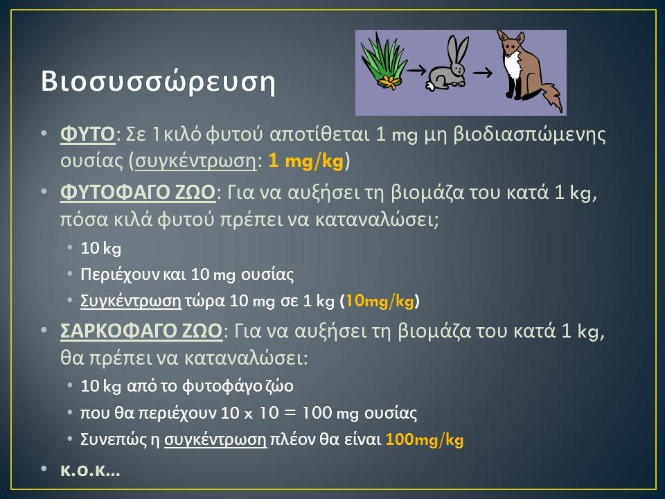 ΦΥΤΟ : Σε 1 κιλό φυτού αποτίθεται 1 mg μη βιοδιασπώμενης ουσίας ( συγκέντρωση : 1 mg/kg) ΦΥΤΟΦΑΓΟ ΖΩΟ : Για να αυξήσει τη βιομάζα του κατά 1 kg, πόσα κιλά φυτού πρέπει να καταναλώσει ; 10 kg Περιέχουν και 10 mg ουσίας Συγκέντρωση τώρα 10 mg σε 1 kg (10mg/kg) ΣΑΡΚΟΦΑΓΟ ΖΩΟ : Για να αυξήσει τη βιομάζα του κατά 1 kg, θα πρέπει να καταναλώσει : 10 kg από το φυτοφάγο ζώο που θα περιέχουν 10 x 10 = 100 mg ουσίας Συνεπώς η συγκέντρωση πλέον θα είναι 100mg/kg κ.