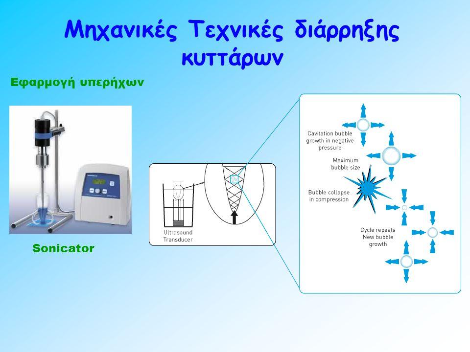 Μηχανικές Τεχνικές διάρρηξης κυττάρων Εφαρμογή υπερήχων Sonicator