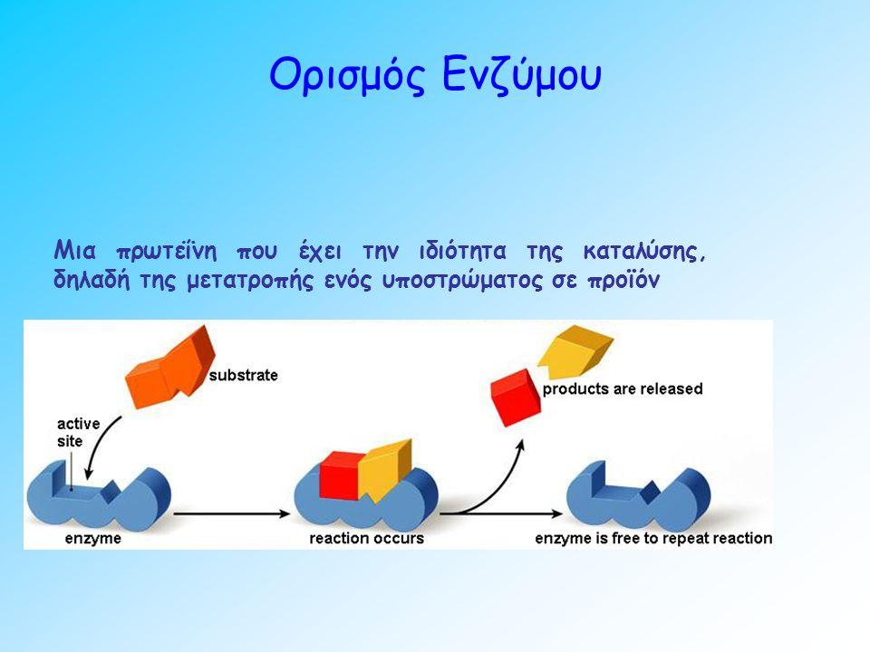 Ορισμός Ενζύμου Μια πρωτεΐνη που έχει την ιδιότητα της καταλύσης, δηλαδή της μετατροπής ενός υποστρώματος σε προϊόν