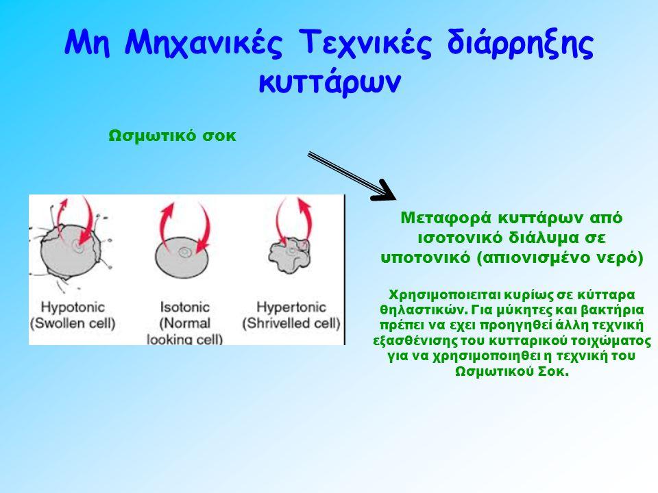 Μη Μηχανικές Τεχνικές διάρρηξης κυττάρων Ωσμωτικό σοκ Μεταφορά κυττάρων από ισοτονικό διάλυμα σε υποτονικό (απιονισμένο νερό) Χρησιμοποιειται κυρίως σε κύτταρα θηλαστικών.