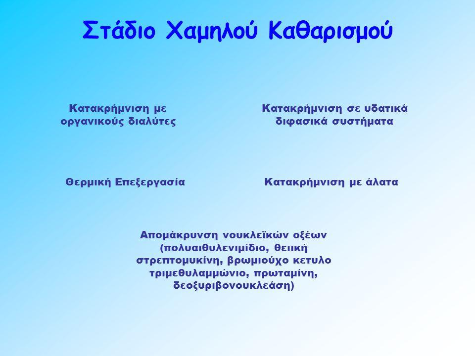 Στάδιο Χαμηλού Καθαρισμού Κατακρήμνιση με άλατα Κατακρήμνιση με οργανικούς διαλύτες Κατακρήμνιση σε υδατικά διφασικά συστήματα Θερμική Επεξεργασία Απομάκρυνση νουκλεϊκών οξέων (πολυαιθυλενιμίδιο, θειική στρεπτομυκίνη, βρωμιούχο κετυλο τριμεθυλαμμώνιο, πρωταμίνη, δεοξυριβονουκλεάση)