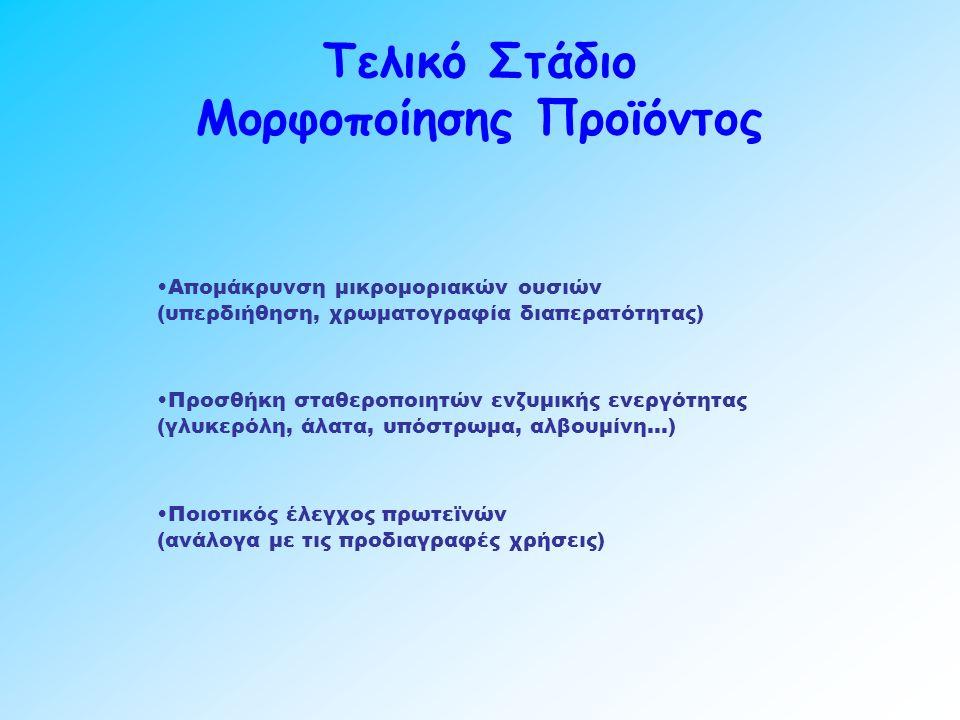 Τελικό Στάδιο Μορφοποίησης Προϊόντος Απομάκρυνση μικρομοριακών ουσιών (υπερδιήθηση, χρωματογραφία διαπερατότητας) Προσθήκη σταθεροποιητών ενζυμικής ενεργότητας (γλυκερόλη, άλατα, υπόστρωμα, αλβουμίνη…) Ποιοτικός έλεγχος πρωτεϊνών (ανάλογα με τις προδιαγραφές χρήσεις)