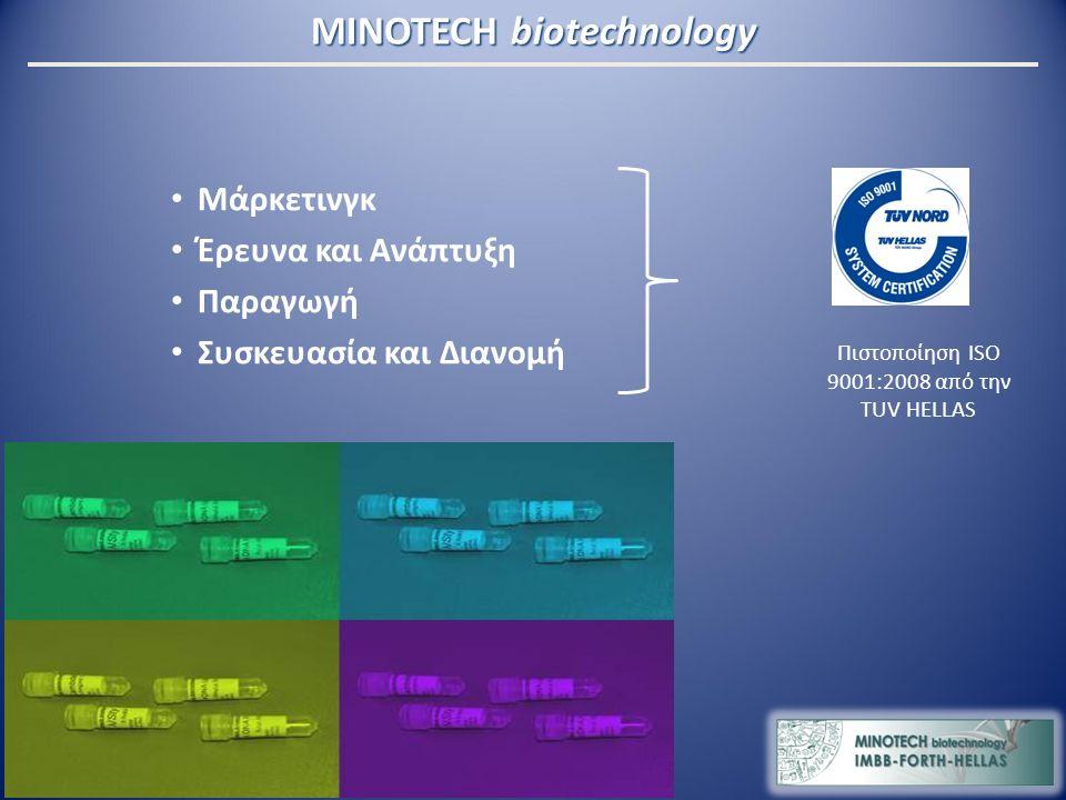 MINOTECH biotechnology Μάρκετινγκ Έρευνα και Ανάπτυξη Παραγωγή Συσκευασία και Διανομή Πιστοποίηση ISO 9001:2008 από την TUV HELLAS