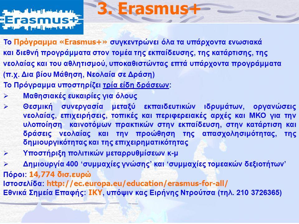 3. Erasmus+ Το Πρόγραμμα «Erasmus+» συγκεντρώνει όλα τα υπάρχοντα ενωσιακά και διεθνή προγράμματα στον τομέα της εκπαίδευσης, της κατάρτισης, της νεολ