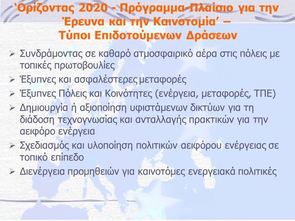 'Ορίζοντας 2020 - Πρόγραμμα-Πλαίσιο για την Έρευνα και την Καινοτομία' – Τύποι Επιδοτούμενων Δράσεων  Συνδράμοντας σε καθαρό ατμοσφαιρικό αέρα στις πόλεις με τοπικές πρωτοβουλίες  Έξυπνες και ασφαλέστερες μεταφορές  Έξυπνες Πόλεις και Κοινότητες (ενέργεια, μεταφορές, ΤΠΕ)  Δημιουργία ή αξιοποίηση υφιστάμενων δικτύων για τη διάδοση τεχνογνωσίας και ανταλλαγής πρακτικών για την αειφόρο ενέργεια  Σχεδιασμός και υλοποίηση πολιτικών αειφόρου ενέργειας σε τοπικό επίπεδο  Διενέργεια προμηθειών για καινοτόμες ενεργειακά πολιτικές