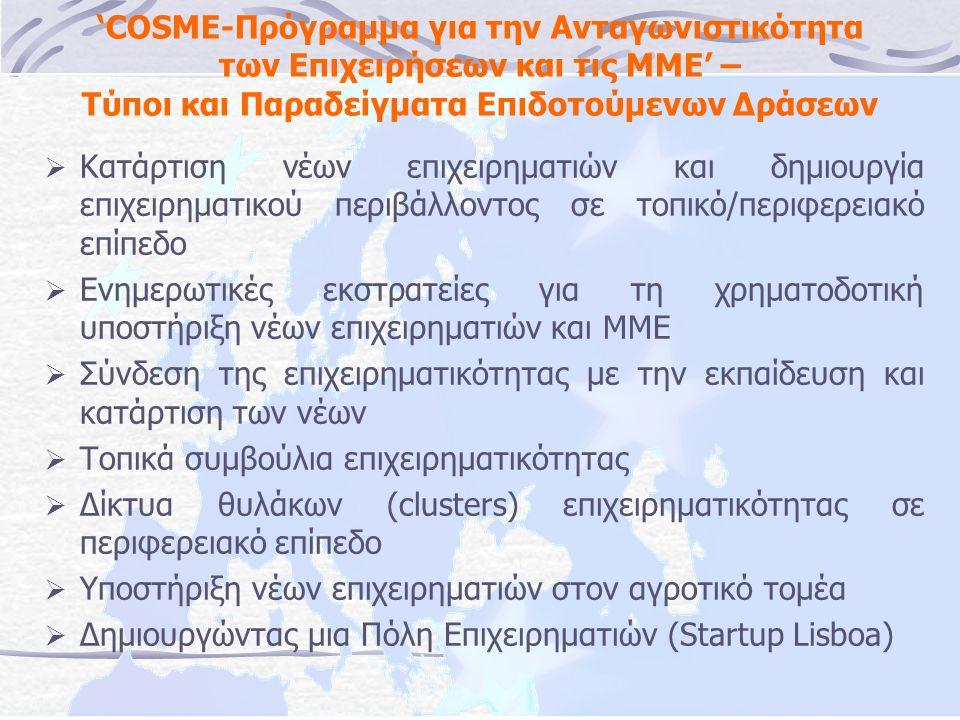 'COSME-Πρόγραμμα για την Ανταγωνιστικότητα των Επιχειρήσεων και τις ΜΜΕ' – Τύποι και Παραδείγματα Επιδοτούμενων Δράσεων  Κατάρτιση νέων επιχειρηματιών και δημιουργία επιχειρηματικού περιβάλλοντος σε τοπικό/περιφερειακό επίπεδο  Ενημερωτικές εκστρατείες για τη χρηματοδοτική υποστήριξη νέων επιχειρηματιών και ΜΜΕ  Σύνδεση της επιχειρηματικότητας με την εκπαίδευση και κατάρτιση των νέων  Τοπικά συμβούλια επιχειρηματικότητας  Δίκτυα θυλάκων (clusters) επιχειρηματικότητας σε περιφερειακό επίπεδο  Υποστήριξη νέων επιχειρηματιών στον αγροτικό τομέα  Δημιουργώντας μια Πόλη Επιχειρηματιών (Startup Lisboa)