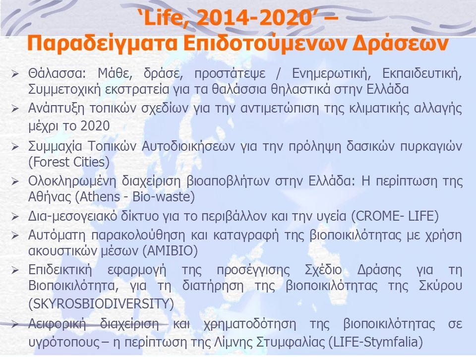 'Life, 2014-2020' – Παραδείγματα Επιδοτούμενων Δράσεων  Θάλασσα: Μάθε, δράσε, προστάτεψε / Ενημερωτική, Εκπαιδευτική, Συμμετοχική εκστρατεία για τα θαλάσσια θηλαστικά στην Ελλάδα  Ανάπτυξη τοπικών σχεδίων για την αντιμετώπιση της κλιματικής αλλαγής μέχρι το 2020  Συμμαχία Τοπικών Αυτοδιοικήσεων για την πρόληψη δασικών πυρκαγιών (Forest Cities)  Ολοκληρωμένη διαχείριση βιοαποβλήτων στην Ελλάδα: Η περίπτωση της Αθήνας (Athens - Bio-waste)  Δια-μεσογειακό δίκτυο για το περιβάλλον και την υγεία (CROME- LIFE)  Αυτόματη παρακολούθηση και καταγραφή της βιοποικιλότητας με χρήση ακουστικών μέσων (AMIBIO)  Επιδεικτική εφαρμογή της προσέγγισης Σχέδιο Δράσης για τη Βιοποικιλότητα, για τη διατήρηση της βιοποικιλότητας της Σκύρου (SKYROSBIODIVERSITY)  Αειφορική διαχείριση και χρηματοδότηση της βιοποικιλότητας σε υγρότοπους – η περίπτωση της Λίμνης Στυμφαλίας (LIFE-Stymfalia)