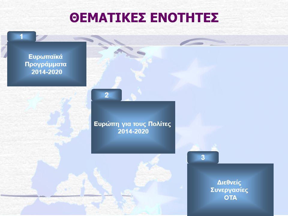 ΘΕΜΑΤΙΚΕΣ ΕΝΟΤΗΤΕΣ Ευρωπαϊκά Προγράμματα 2014-2020 1 Διεθνείς Συνεργασίες ΟΤΑ 3 Ευρώπη για τους Πολίτες 2014-2020 2