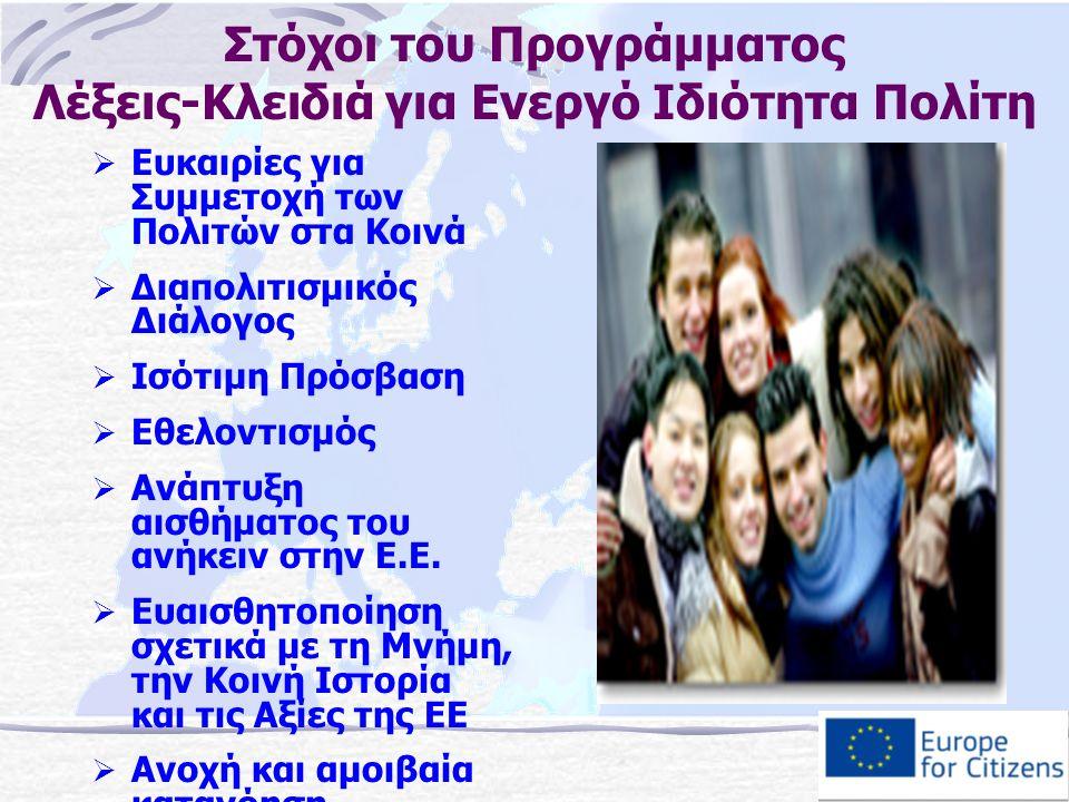 Στόχοι του Προγράμματος Λέξεις-Κλειδιά για Ενεργό Ιδιότητα Πολίτη  Ευκαιρίες για Συμμετοχή των Πολιτών στα Κοινά  Διαπολιτισμικός Διάλογος  Ισότιμη Πρόσβαση  Εθελοντισμός  Ανάπτυξη αισθήματος του ανήκειν στην Ε.Ε.