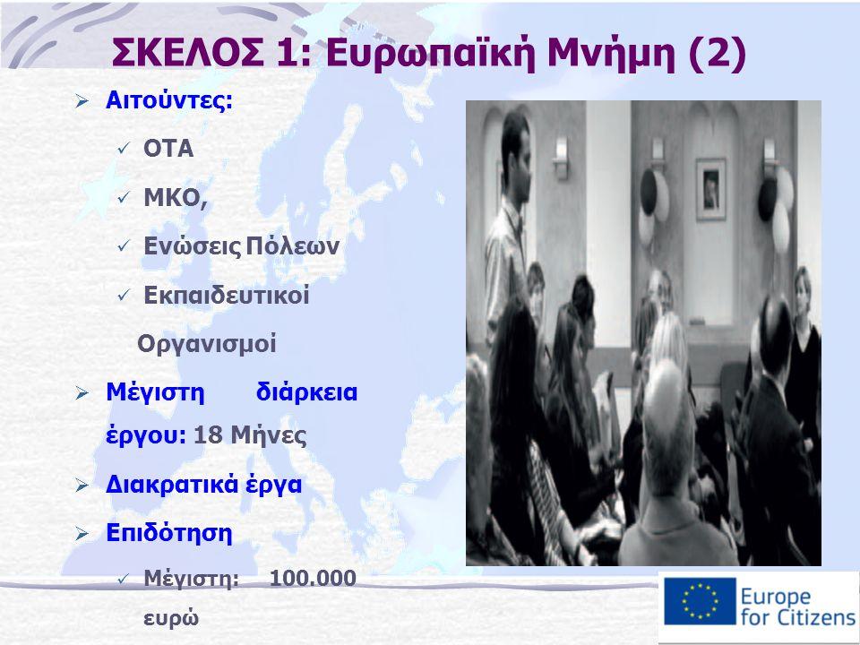 ΣΚΕΛΟΣ 1: Ευρωπαϊκή Μνήμη (2)  Αιτούντες: ΟΤΑ ΜΚΟ, Ενώσεις Πόλεων Εκπαιδευτικοί Οργανισμοί  Μέγιστη διάρκεια έργου: 18 Μήνες  Διακρατικά έργα  Επιδότηση Μέγιστη: 100.000 ευρώ