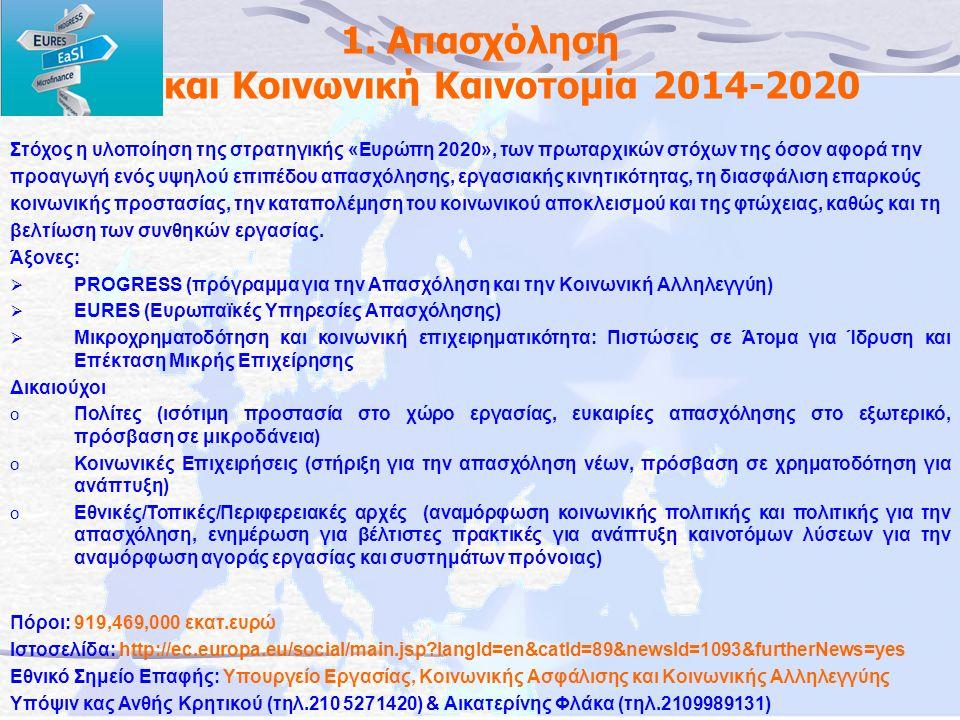1. Απασχόληση και Κοινωνική Καινοτομία 2014-2020 Στόχος η υλοποίηση της στρατηγικής «Ευρώπη 2020», των πρωταρχικών στόχων της όσον αφορά την προαγωγή