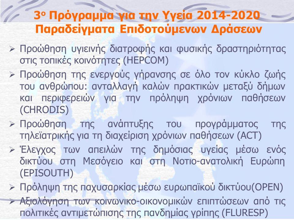 3 ο Πρόγραμμα για την Υγεία 2014-2020 Παραδείγματα Επιδοτούμενων Δράσεων  Προώθηση υγιεινής διατροφής και φυσικής δραστηριότητας στις τοπικές κοινότητες (HEPCOM)  Προώθηση της ενεργούς γήρανσης σε όλο τον κύκλο ζωής του ανθρώπου: ανταλλαγή καλών πρακτικών μεταξύ δήμων και περιφερειών για την πρόληψη χρόνιων παθήσεων (CHRODIS)  Προώθηση της ανάπτυξης του προγράμματος της τηλεϊατρικής για τη διαχείριση χρόνιων παθήσεων (ACT)  Έλεγχος των απειλών της δημόσιας υγείας μέσω ενός δικτύου στη Μεσόγειο και στη Νοτιο-ανατολική Ευρώπη (EPISOUTH)  Πρόληψη της παχυσαρκίας μέσω ευρωπαϊκού δικτύου(OPEN)  Αξιολόγηση των κοινωνικο-οικονομικών επιπτώσεων από τις πολιτικές αντιμετώπισης της πανδημίας γρίπης (FLURESP)