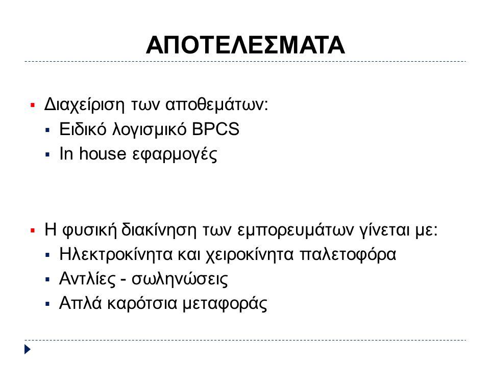 ΑΠΟΤΕΛΕΣΜΑΤΑ  Διαχείριση των αποθεμάτων:  Ειδικό λογισμικό BPCS  In house εφαρμογές  Η φυσική διακίνηση των εμπορευμάτων γίνεται με:  Ηλεκτροκίνητα και χειροκίνητα παλετοφόρα  Αντλίες - σωληνώσεις  Απλά καρότσια μεταφοράς