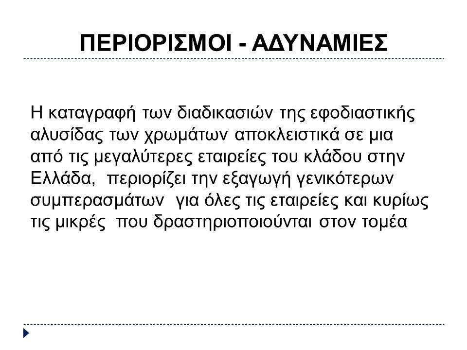 ΠΕΡΙΟΡΙΣΜΟΙ - ΑΔΥΝΑΜΙΕΣ Η καταγραφή των διαδικασιών της εφοδιαστικής αλυσίδας των χρωμάτων αποκλειστικά σε μια από τις μεγαλύτερες εταιρείες του κλάδου στην Ελλάδα, περιορίζει την εξαγωγή γενικότερων συμπερασμάτων για όλες τις εταιρείες και κυρίως τις μικρές που δραστηριοποιούνται στον τομέα