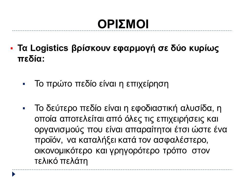 ΟΡΙΣΜΟΙ  Τα Logistics βρίσκουν εφαρμογή σε δύο κυρίως πεδία:  Το πρώτο πεδίο είναι η επιχείρηση  Το δεύτερο πεδίο είναι η εφοδιαστική αλυσίδα, η οποία αποτελείται από όλες τις επιχειρήσεις και οργανισμούς που είναι απαραίτητοι έτσι ώστε ένα προϊόν, να καταλήξει κατά τον ασφαλέστερο, οικονομικότερο και γρηγορότερο τρόπο στον τελικό πελάτη