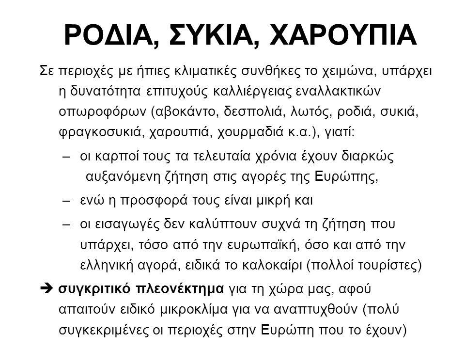 ΡΟΔΙΑ (Punica granatum) Ζώνη Καλλιέργειας: κυρίως σε εύκρατες και υποτροπικές περιοχές, σε θερμά μέρη (νησιά, εσωτερικές πεδιάδες) Επεκτείνεται σήμερα σε περιοχές με μεσογειακό κλίμα, ξηρές, με εδάφη υψηλής αλατότητας Τόποι καλλιέργειας στην Ελλάδα: – για χυμό σε όλη τη χώρα – για καρπό: Ερμιόνη Αργολίδας (300-400 τόνοι ροδιών) Κυρίως η ποικιλία Wonderful, σε 4000 στρ.