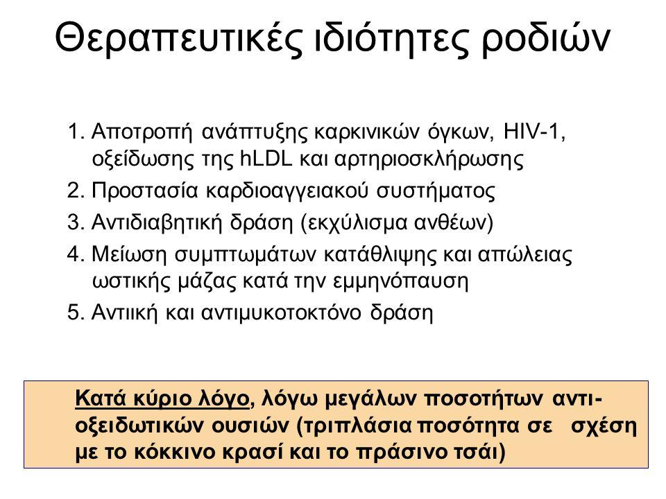 Θεραπευτικές ιδιότητες ροδιών 1. Αποτροπή ανάπτυξης καρκινικών όγκων, HIV-1, οξείδωσης της hLDL και αρτηριοσκλήρωσης 2. Προστασία καρδιοαγγειακού συστ