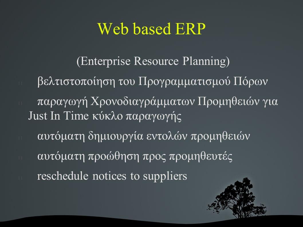 Web based ERP (Enterprise Resource Planning) βελτιστοποίηση του Προγραμματισμού Πόρων παραγωγή Χρονοδιαγράμματων Προμηθειών για Just In Time κύκλο παραγωγής αυτόματη δημιουργία εντολών προμηθειών αυτόματη προώθηση προς προμηθευτές reschedule notices to suppliers
