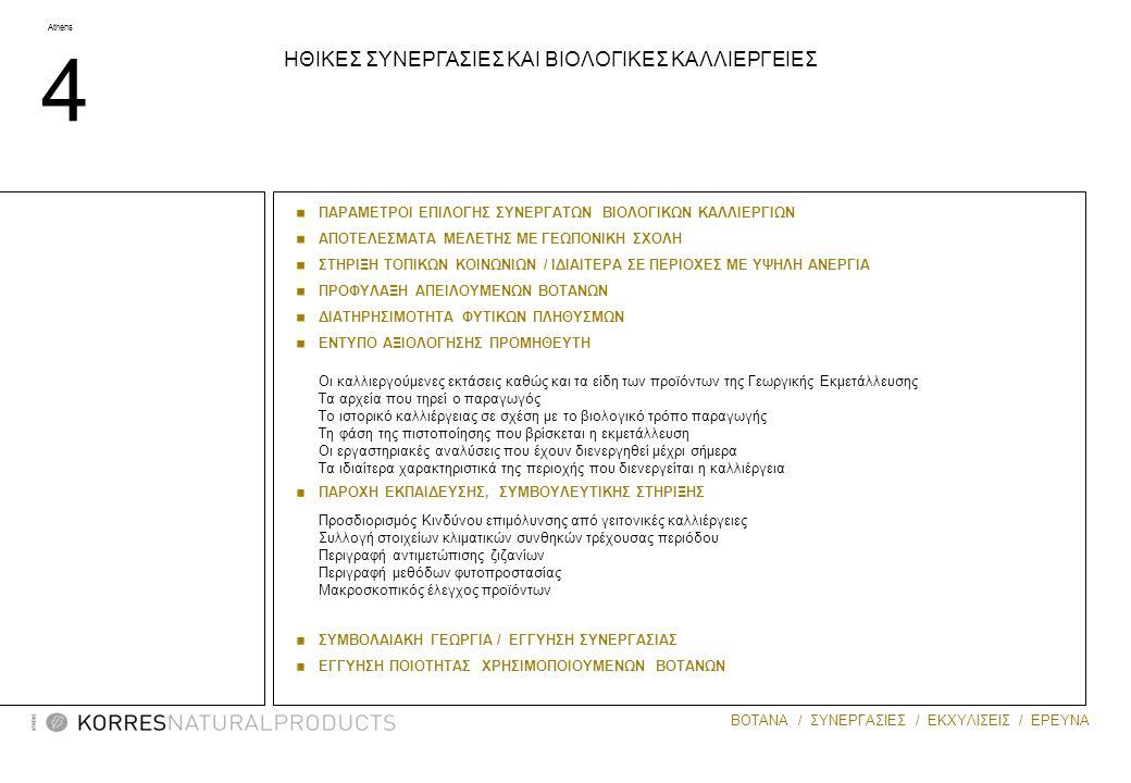 Athens 5 ΒΟΤΑΝΑ / ΣΥΝΕΡΓΑΣΙΕΣ / ΕΚΧΥΛΙΣΕΙΣ / ΕΡΕΥΝΑ MASTIHA Συνεργασίες με ΣΥΝΕΤΑΙΡΙΣΜΟΣ ΜΑΣΤΙΧΟΠΑΡΑΓΩΓΩΝ ΧΙΟΥ: 3000 οικογένειες απασχολούνται με τη Μαστίχα στο νησί της Χίου ΕΝΩΣΗ ΚΡΟΚΟΠΑΡΑΓΩΓΩΝ ΚΟΖΑΝΗΣ: 1500 οικογένειες από 20 χωριά γύρω από την Κοζάνη.