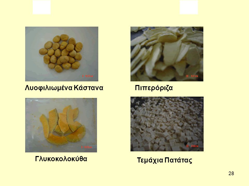 28 Λυοφιλιωμένα Κάστανα Πιπερόριζα Γλυκοκολοκύθα Τεμάχια Πατάτας