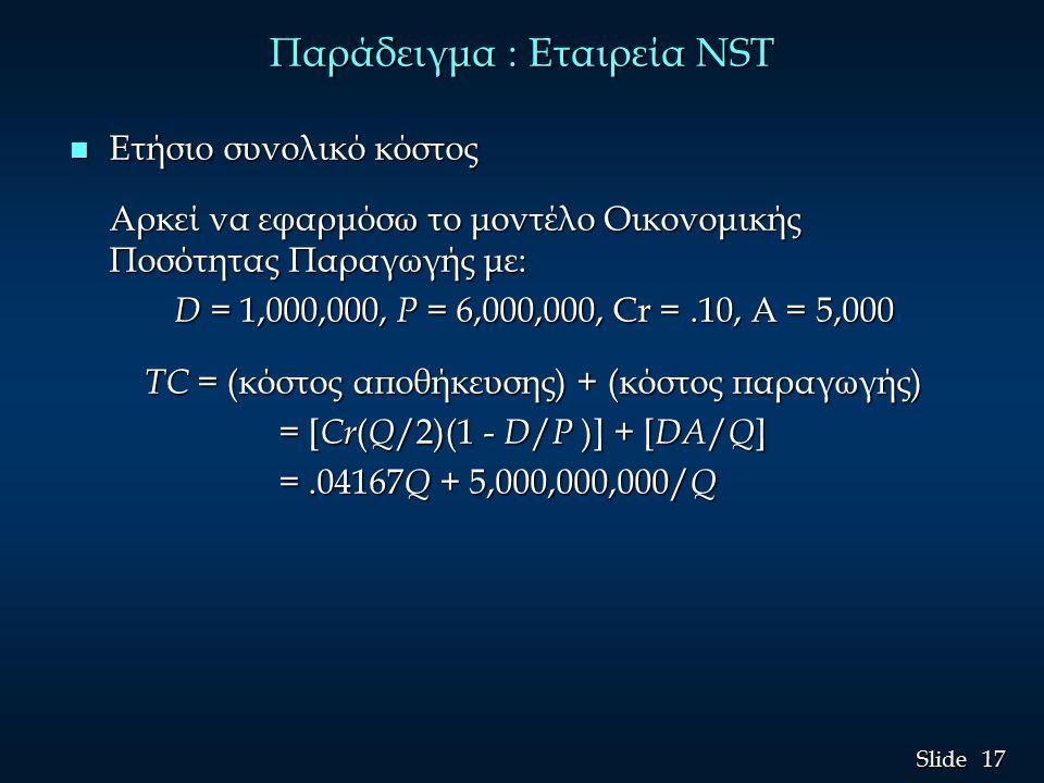 17 Slide Παράδειγμα : Εταιρεία NST n Ετήσιο συνολικό κόστος Αρκεί να εφαρμόσω το μοντέλο Οικονομικής Ποσότητας Παραγωγής με: D = 1,000,000, P = 6,000,000, Cr =.10, A = 5,000 D = 1,000,000, P = 6,000,000, Cr =.10, A = 5,000 TC = (κόστος αποθήκευσης) + (κόστος παραγωγής) TC = (κόστος αποθήκευσης) + (κόστος παραγωγής) = [ Cr ( Q /2)(1 - D / P )] + [ DA / Q ] = [ Cr ( Q /2)(1 - D / P )] + [ DA / Q ] =.04167 Q + 5,000,000,000/ Q =.04167 Q + 5,000,000,000/ Q