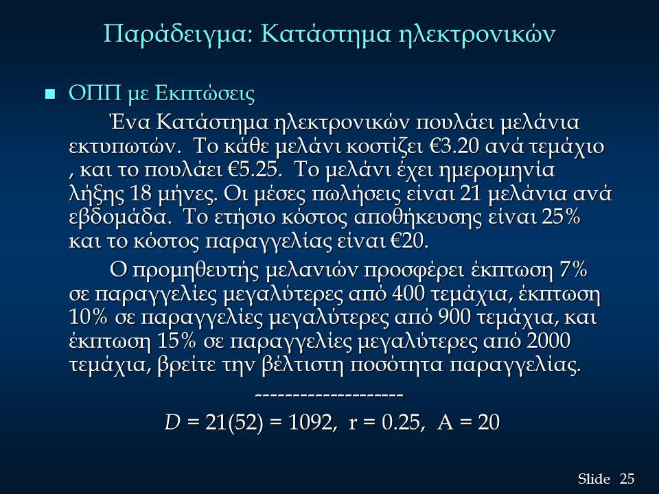 25 Slide Παράδειγμα: Κατάστημα ηλεκτρονικών n ΟΠΠ με Εκπτώσεις Ένα Κατάστημα ηλεκτρονικών πουλάει μελάνια εκτυπωτών. Το κάθε μελάνι κοστίζει €3.20 ανά