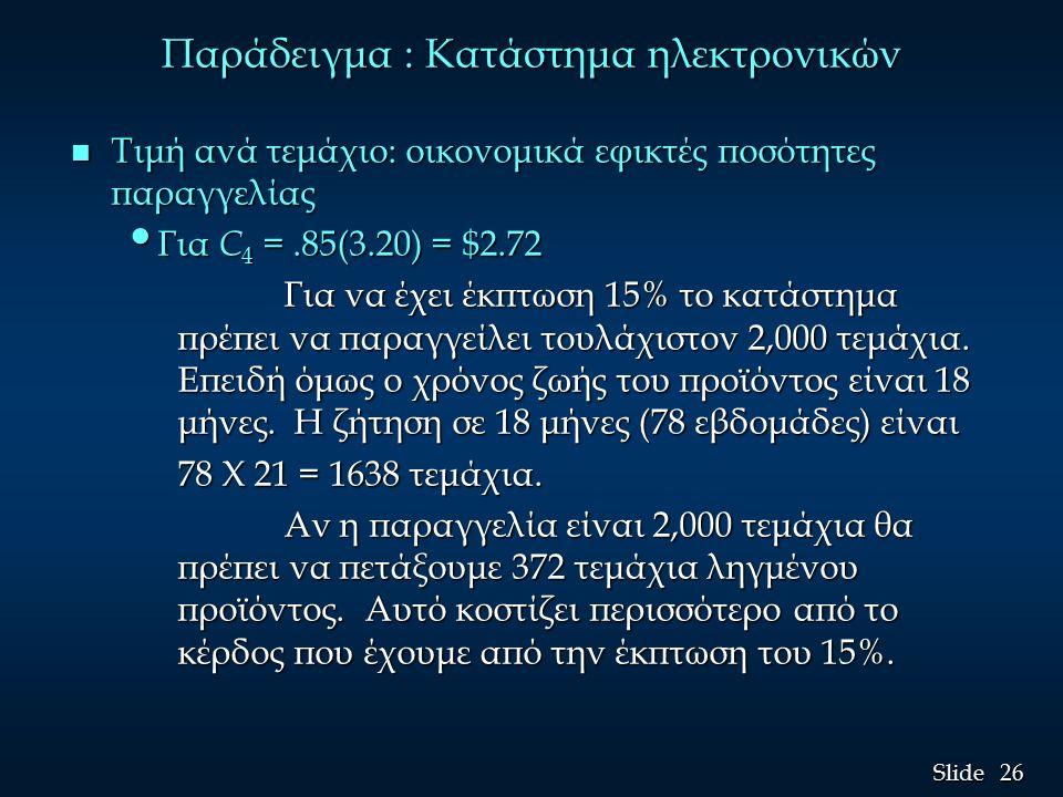 26 Slide Παράδειγμα : Κατάστημα ηλεκτρονικών n Τιμή ανά τεμάχιο: οικονομικά εφικτές ποσότητες παραγγελίας Για C 4 =.85(3.20) = $2.72 Για C 4 =.85(3.20) = $2.72 Για να έχει έκπτωση 15% το κατάστημα πρέπει να παραγγείλει τουλάχιστον 2,000 τεμάχια.