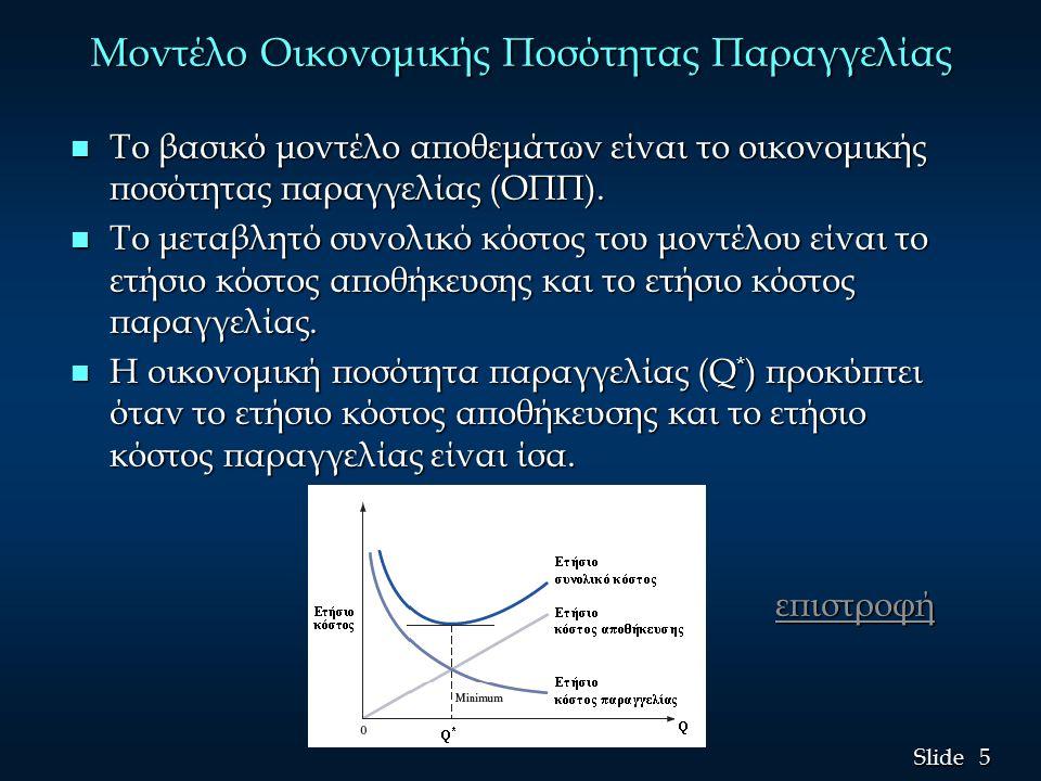 5 5 Slide Μοντέλο Οικονομικής Ποσότητας Παραγγελίας n Το βασικό μοντέλο αποθεμάτων είναι το οικονομικής ποσότητας παραγγελίας (ΟΠΠ). n Το μεταβλητό συ