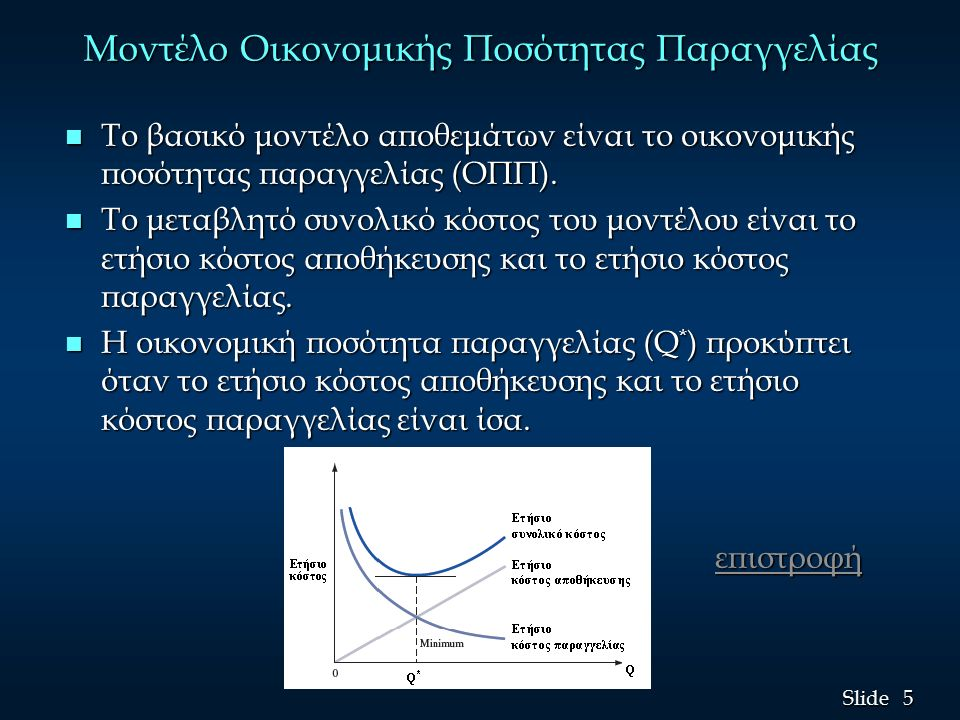 5 5 Slide Μοντέλο Οικονομικής Ποσότητας Παραγγελίας n Το βασικό μοντέλο αποθεμάτων είναι το οικονομικής ποσότητας παραγγελίας (ΟΠΠ).