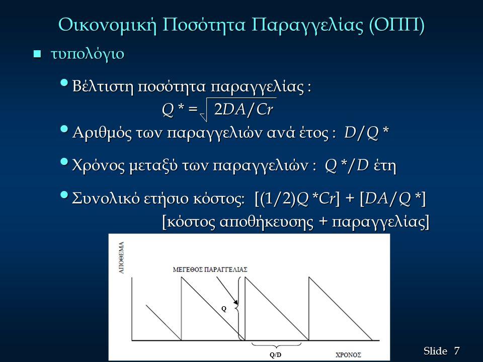 7 7 Slide Οικονομική Ποσότητα Παραγγελίας (ΟΠΠ) n τυπολόγιο Βέλτιστη ποσότητα παραγγελίας : Βέλτιστη ποσότητα παραγγελίας : Q * = 2 DΑ / Cr Q * = 2 DΑ / Cr Αριθμός των παραγγελιών ανά έτος : D / Q * Αριθμός των παραγγελιών ανά έτος : D / Q * Χρόνος μεταξύ των παραγγελιών : Q */ D έτη Χρόνος μεταξύ των παραγγελιών : Q */ D έτη Συνολικό ετήσιο κόστος: [(1/2) Q * Cr ] + [ DΑ / Q *] Συνολικό ετήσιο κόστος: [(1/2) Q * Cr ] + [ DΑ / Q *] [κόστος αποθήκευσης + παραγγελίας] [κόστος αποθήκευσης + παραγγελίας] Q Q/D