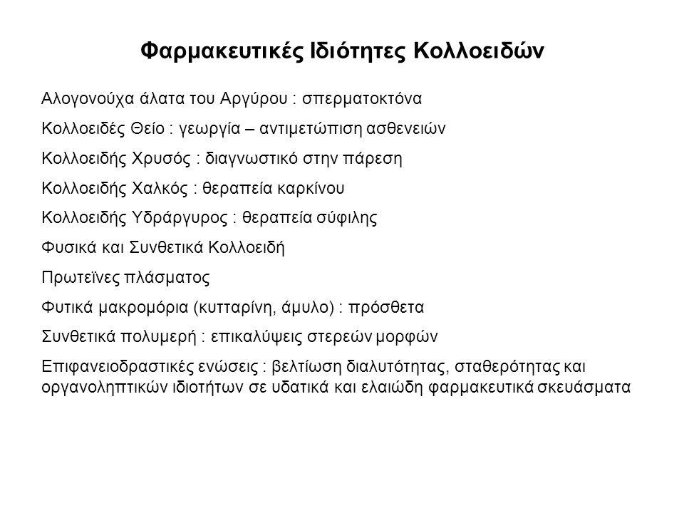 Φαρμακευτικές Ιδιότητες Κολλοειδών Αλογονούχα άλατα του Αργύρου : σπερματοκτόνα Κολλοειδές Θείο : γεωργία – αντιμετώπιση ασθενειών Κολλοειδής Χρυσός :