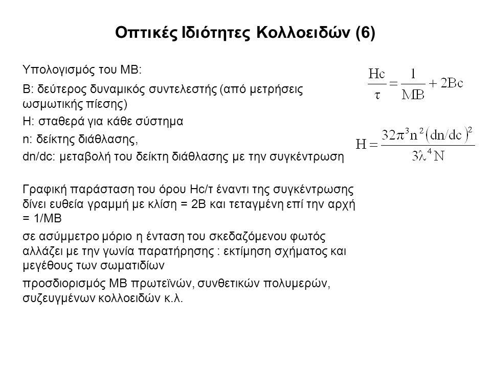 Οπτικές Ιδιότητες Κολλοειδών (6) Υπολογισμός του ΜΒ: Β: δεύτερος δυναμικός συντελεστής (από μετρήσεις ωσμωτικής πίεσης) Η: σταθερά για κάθε σύστημα n: