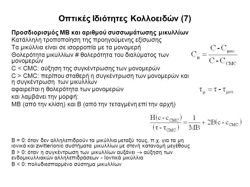 Οπτικές Ιδιότητες Κολλοειδών (7) Προσδιορισμός ΜΒ και αριθμού συσσωμάτωσης μικυλλίων Κατάλληλη τροποποίηση της προηγούμενης εξίσωσης Τα μικύλλια είναι