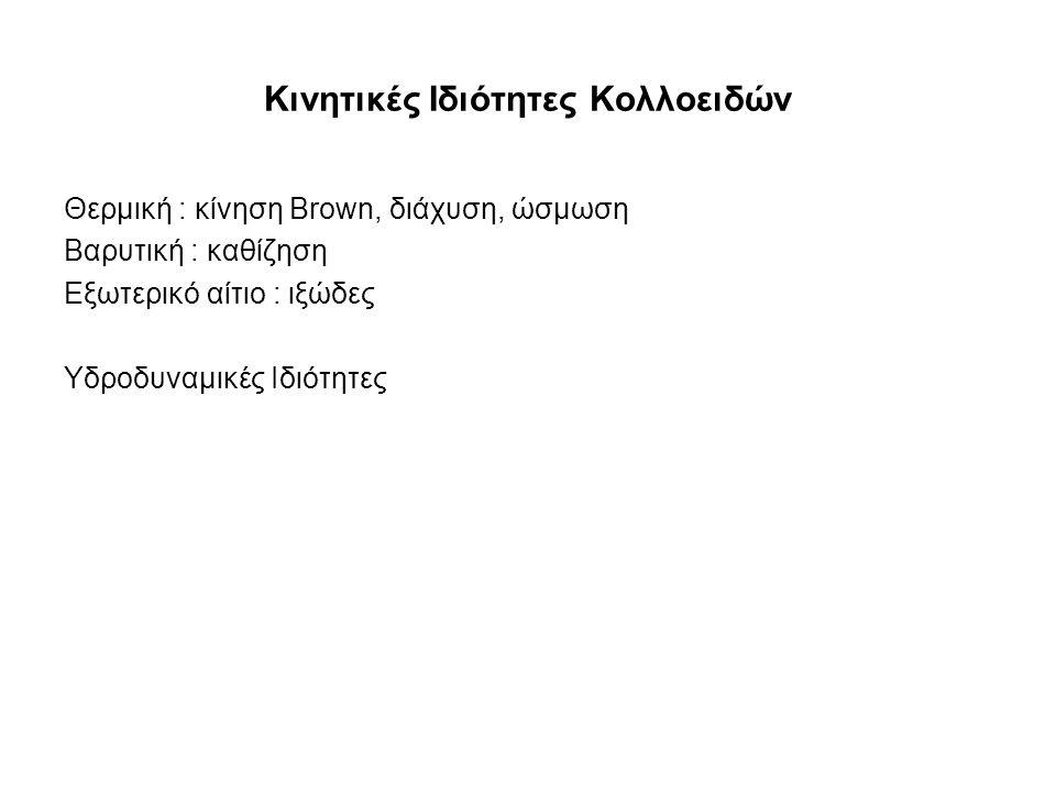Κινητικές Ιδιότητες Κολλοειδών Θερμική : κίνηση Brown, διάχυση, ώσμωση Βαρυτική : καθίζηση Εξωτερικό αίτιο : ιξώδες Υδροδυναμικές Ιδιότητες