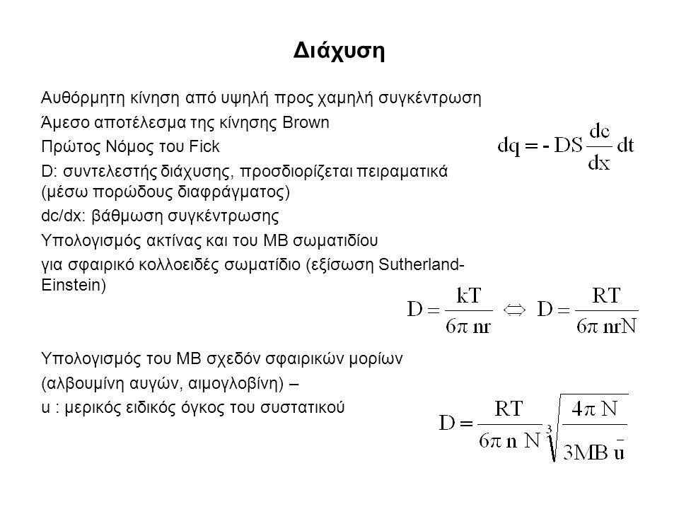 Διάχυση Αυθόρμητη κίνηση από υψηλή προς χαμηλή συγκέντρωση Άμεσο αποτέλεσμα της κίνησης Brown Πρώτος Νόμος του Fick D: συντελεστής διάχυσης, προσδιορί