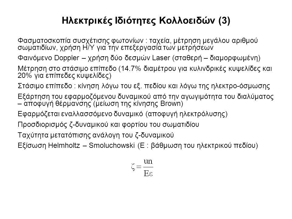 Ηλεκτρικές Ιδιότητες Κολλοειδών (3) Φασματοσκοπία συσχέτισης φωτονίων : ταχεία, μέτρηση μεγάλου αριθμού σωματιδίων, χρήση Η/Υ για την επεξεργασία των