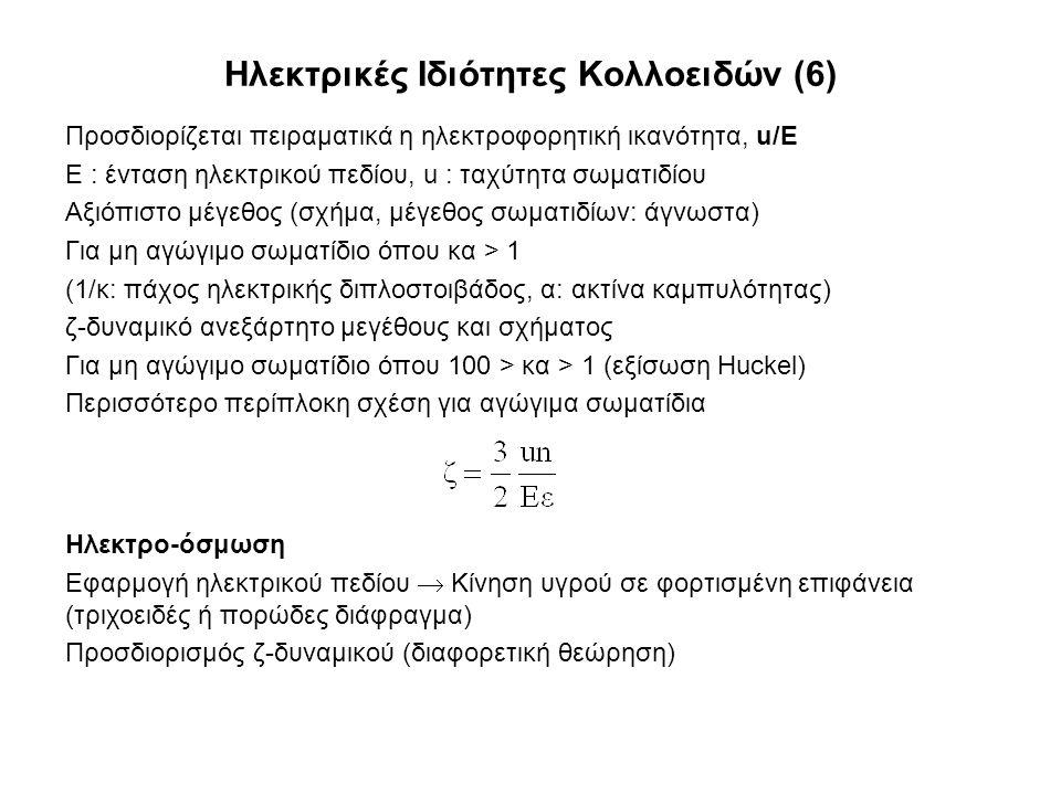 Ηλεκτρικές Ιδιότητες Κολλοειδών (6) Προσδιορίζεται πειραματικά η ηλεκτροφορητική ικανότητα, u/Ε Ε : ένταση ηλεκτρικού πεδίου, u : ταχύτητα σωματιδίου