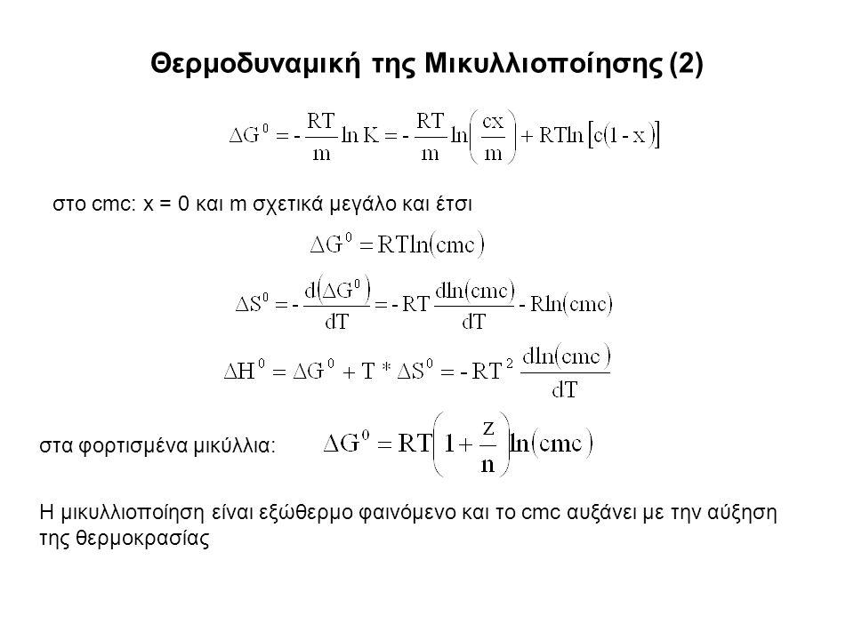 Θερμοδυναμική της Μικυλλιοποίησης (2) στο cmc: x = 0 και m σχετικά μεγάλο και έτσι στα φορτισμένα μικύλλια: Η μικυλλιοποίηση είναι εξώθερμο φαινόμενο