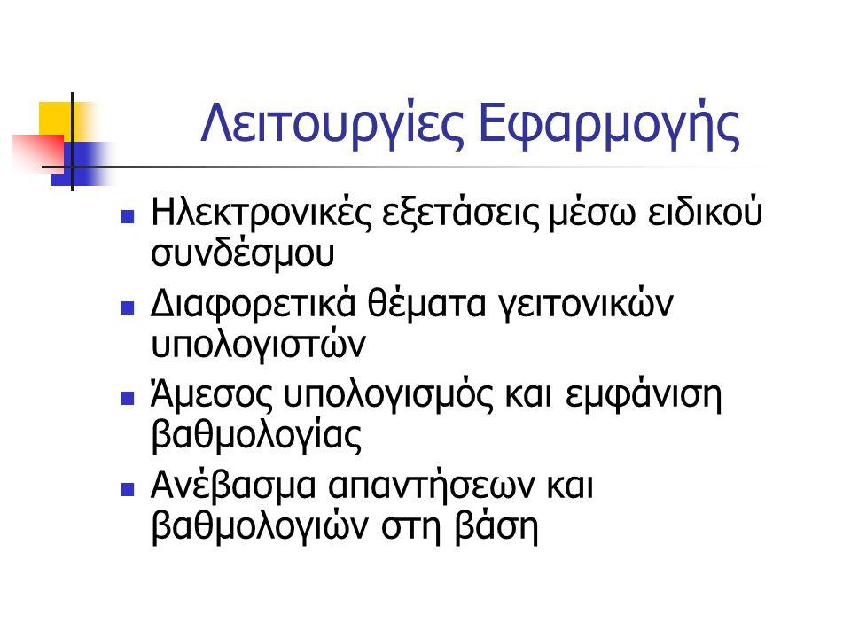 Λειτουργίες Εφαρμογής Ηλεκτρονικές εξετάσεις μέσω ειδικού συνδέσμου Διαφορετικά θέματα γειτονικών υπολογιστών Άμεσος υπολογισμός και εμφάνιση βαθμολογ