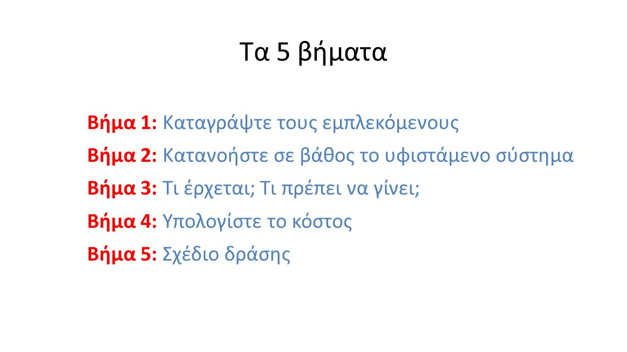 Τα 5 βήματα Βήμα 1: Καταγράψτε τους εμπλεκόμενους Βήμα 2: Κατανοήστε σε βάθος το υφιστάμενο σύστημα Βήμα 3: Τι έρχεται; Τι πρέπει να γίνει; Βήμα 4: Υπολογίστε το κόστος Βήμα 5: Σχέδιο δράσης